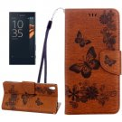 For Xperia XA Brown Butterfly Leather Case with Holder, Card Slots & Wallet