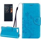 For Xperia X Blue Butterfly Leather Case with Holder, Card Slots & Wallet