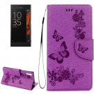 For Xperia XZ Power Purple Butterfly Leather Case with Holder, Slots & Wallet