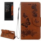 For Xperia XZ Power Brown Butterfly Leather Case with Holder, Slots & Wallet