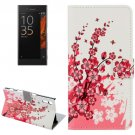 For Xperia XZ Plum Pattern Leather Case with Holder, Card Slots & Wallet