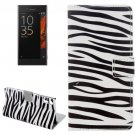 For Xperia XZ Zebra Pattern Leather Case with Holder, Card Slots & Wallet