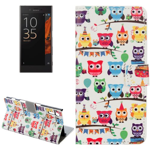 For Xperia XZ Owls Pattern Leather Case with Holder, Card Slots & Wallet