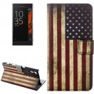 For Xperia XZ US Flag Pattern Leather Case with Holder, Card Slots & Wallet