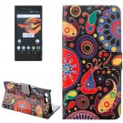 For Xperia X Compact Abstract Flowers Leather Case with Holder, Card Slots & Wallet