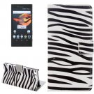 For Xperia X Compact Zebra Leather Case with Holder, Card Slots & Wallet