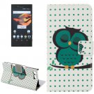 For Xperia X Compact Dot Owl Leather Case with Holder, Card Slots & Wallet