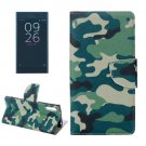 For Xperia XZ Camouflage Leather Case with Holder, Card Slots & Wallet