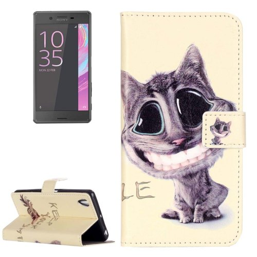 For Xperia X Performance Smiling Leather Case with Holder, Card Slots & Wallet