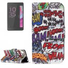 For Xperia XA Graffiti Pattern Leather Case with Holder & Card Slots