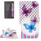 For Xperia XA Butterfly Pattern Leather Case with Holder & Card Slots