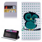 For Xperia E5 Dot and Owl Pattern Leather Case with Holder, Card Slots & Wallet