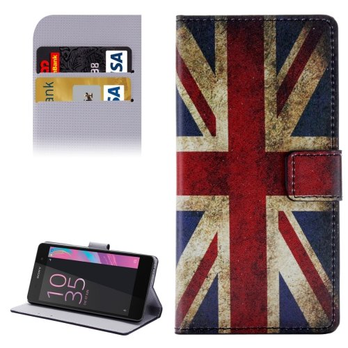 For Xperia E5 UK Flag Pattern Leather Case with Holder, Card Slots & Wallet