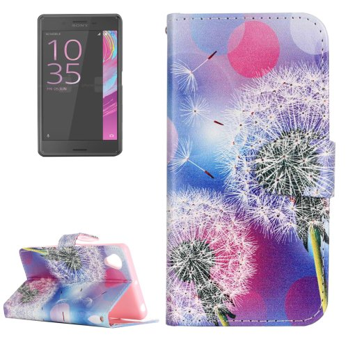 For Xperia X Performance Dandelion Pattern Leather Case with Holder, Card Slots
