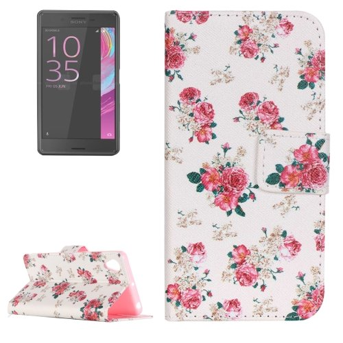 For Xperia X Performance Rose Pattern Leather Case with Holder, Card Slots