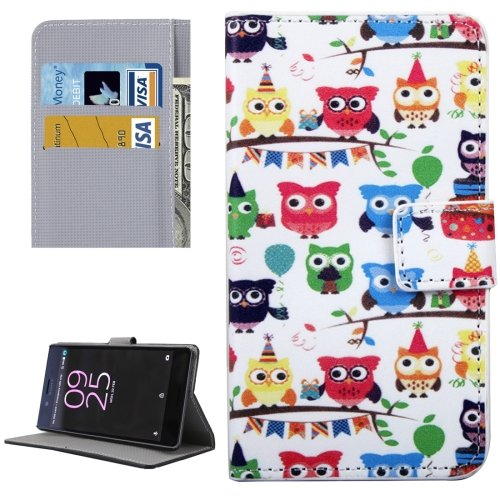 For Xperia X Performance Owls Pattern Leather Case with Holder, Card Slots