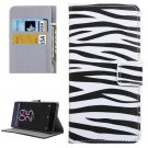 For Xperia X Performance Zebra Pattern Leather Case with Holder, Card Slots