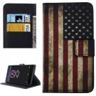 For Xperia X Performance US Flag Pattern Leather Case with Holder, Card Slots