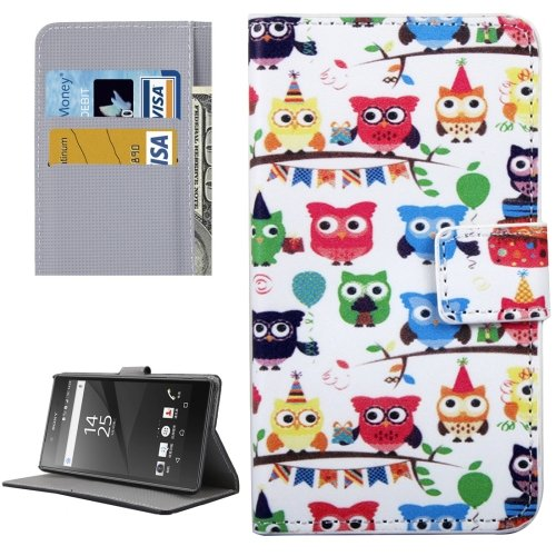 For Xperia XA Owls Pattern Leather Case with Holder, Card Slots & Wallet