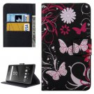 For Xperia XA Butterfly Pattern Leather Case with Holder, Card Slots & Wallet