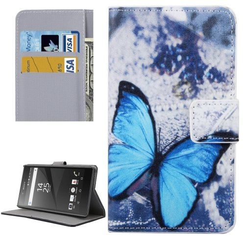 For Xperia X Butterfly Pattern Leather Case with Holder, Card Slots & Wallet