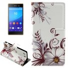 For Xperia M5 Buds Pattern Leather Case with Holder, Card Slots & Wallet