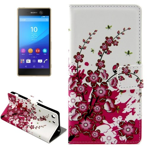 For Xperia M5 Blossom Pattern Leather Case with Holder, Card Slots & Wallet