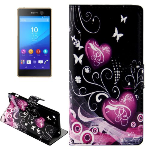 For Xperia M5 Hearts Pattern Leather Case with Holder, Card Slots & Wallet