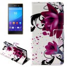 For Xperia M5 Rose Pattern Leather Case with Holder, Card Slots & Wallet