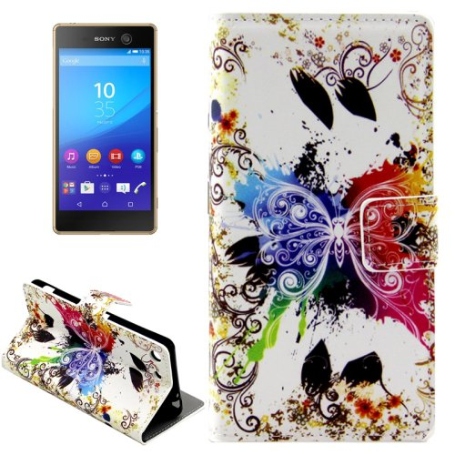 For Xperia M5 Crystal Pattern Leather Case with Holder, Card Slots & Wallet
