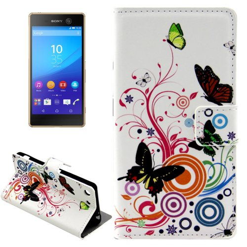 For Xperia M5 Flowers Pattern Leather Case with Holder, Card Slots & Wallet