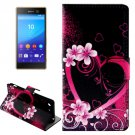 For Xperia M5 Peach Pattern Leather Case with Holder, Card Slots & Wallet