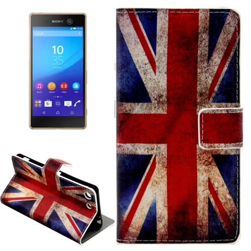 For Xperia M5 UK Flag Pattern Leather Case with Holder, Card Slots & Wallet