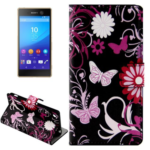 For Xperia M5 Butterflies Pattern Leather Case with Holder, Card Slots & Wallet