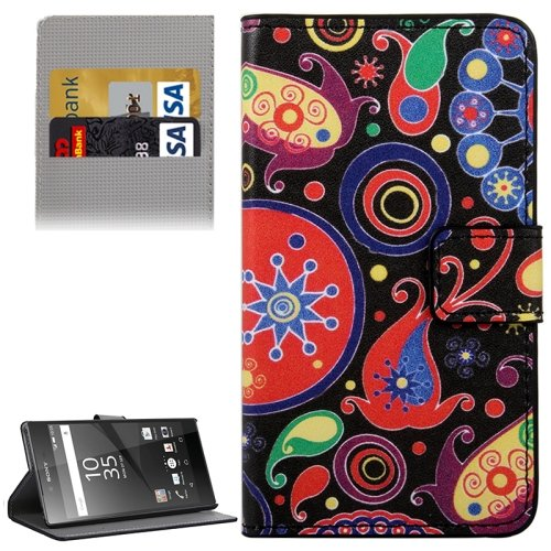 For Xperia Z5 Acaleph Pattern Leather Case with Holder, Card Slots & Wallet