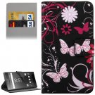 For Xperia Z5 Butterfly Pattern Leather Case with Holder, Card Slots & Wallet