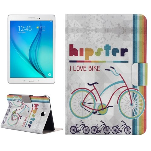 For Tab A 8.0 T350 Bike Pattern Horizontal Flip Leather Case with Holder