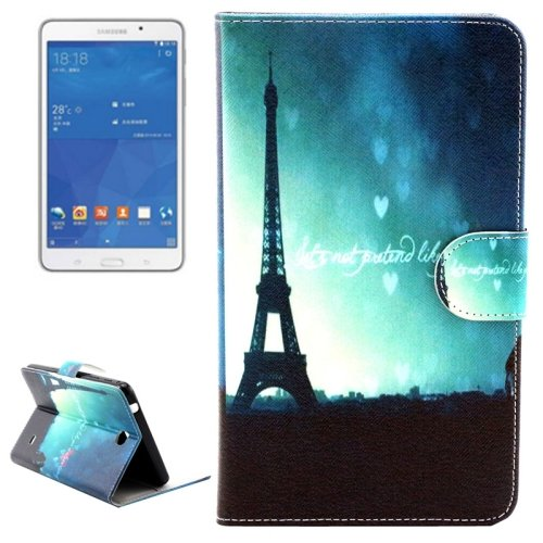 For Tab 4 7.0 Eiffel Tower Flip Leather Case with Holder, Wallet & Card Slots