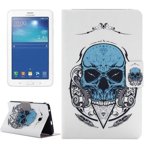 For Tab 3 Lite 7.0 Skull Pattern Horizontal Flip Leather Case with Holder