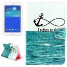 For Tab 3 Lite 7.0 Anchor Pattern Leather Case with Holder, Card Slots & Wallet