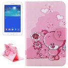 For Tab 3 Lite 7.0 Bear Pattern Leather Case with Holder, Card Slots & Wallet