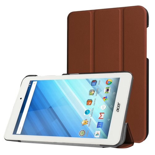 For Iconia One 8 Coffee Custer Flip Leather Case with Three-folding Holder