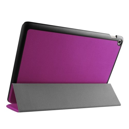 For Zenpad 10 Purple Custer Texture Flip Leather Case with 3-folding Holder