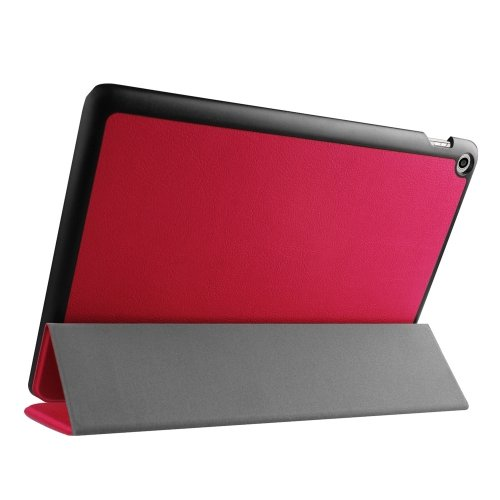 For Zenpad 10 Red Custer Texture Flip Leather Case with 3-folding Holder