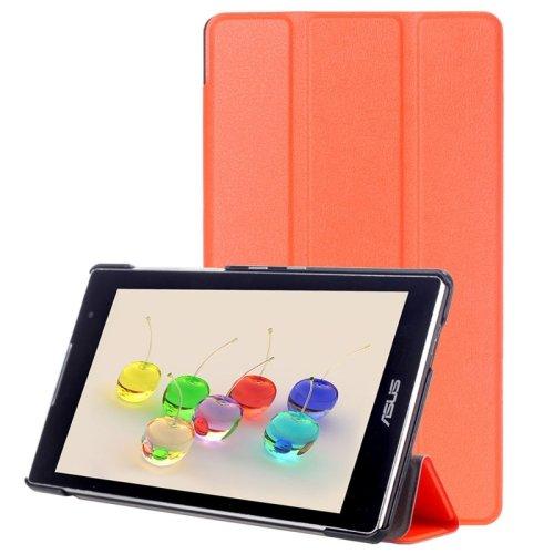 For ZenPad C 7.0 Orange Custer Texture Flip Leather Case with 3-folding Holder