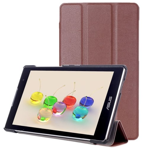 For ZenPad C 7.0 Brown Custer Texture Flip Leather Case with 3-folding Holder
