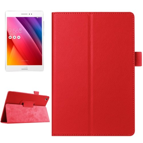 For ZenPad S 8.0 Red Litchi Smart Cover Flip Leather Case with Holder