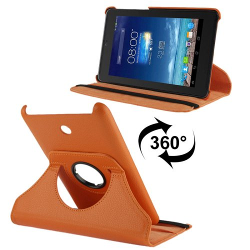 For Fonepad 7 Orange Litchi Texture Flip Leather Case with Rotating Holder