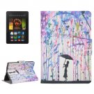 For Kindle Paperwhite 2 Rain Pattern Leather Case with Holder & Card Slots