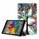 For LG G Pad III 8.0 Colorful Tree Pattern Flip Leather Case with Holder